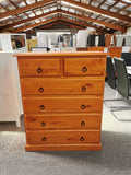 Tallboy 6 Drawer Solid Pine Wood (Warm Honey)
