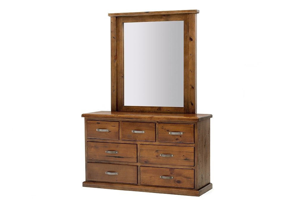 Dressing Table with Mirror Solid Pine Wood Strong Rustic Finished (Fergus)