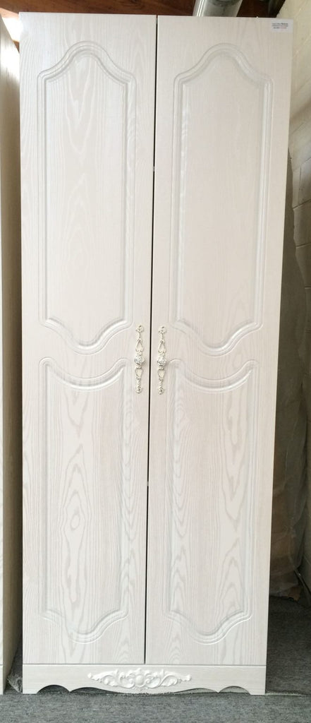 Solid and Sturdy Two Door Wardrobe, Classy and Pearly White