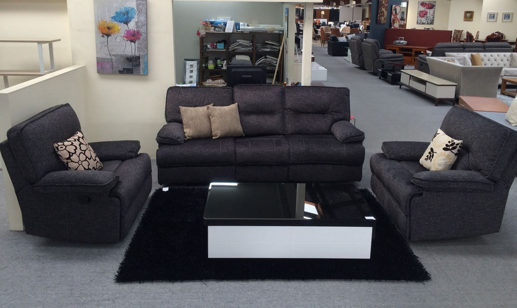 Fabric Recliner Lounge Suite 1+1+3 with 4 Recliners (Marcus)