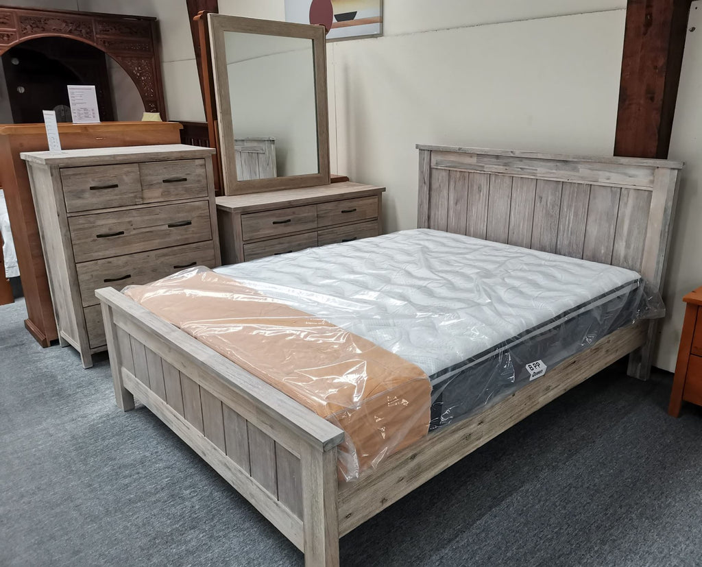 6PCS Bedroom Suite Solid Wood White Wash (Barry)