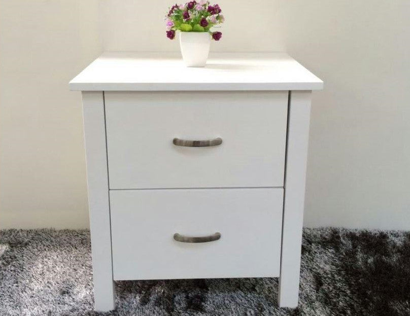 Brand New Bedside Table Solid Pine White Colour (Pamela)