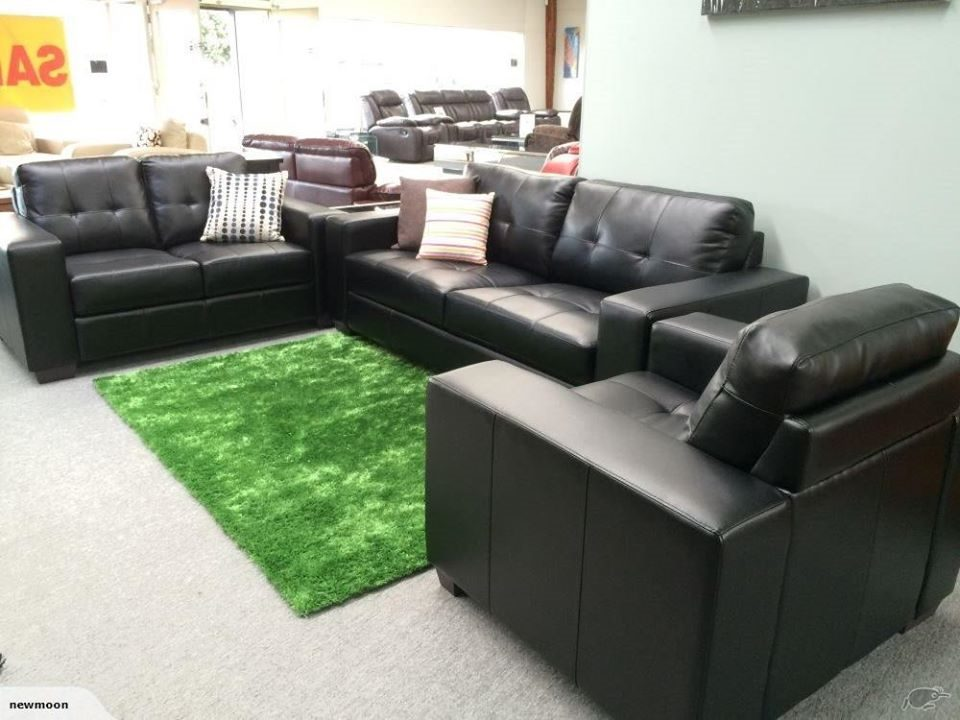 Leather Lounge Suite Black (Aidan)