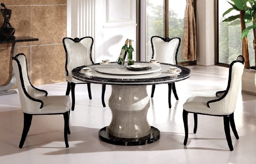 7PCS Round Marble Dining Table with Lazy Susan and 6 x Chairs