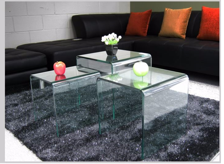 3PCS Glass Nested Table