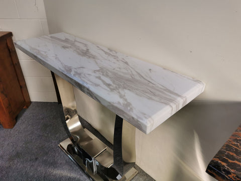 Hall Table White Marble Slab with Grey Pattern on Stainless Steel Stand