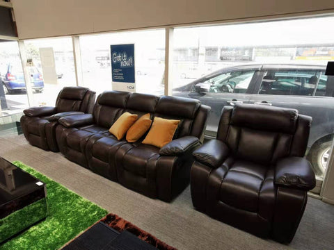 Harrison Recliner Lounge Suite 1+1+3 with 4 Recliners Air Leather