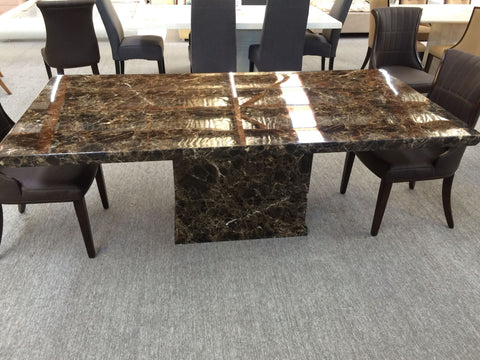 2 Meter Brown Rectangular Marble Dining Table