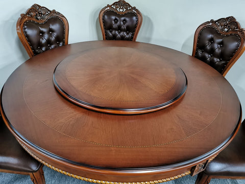 7PCS Dining Suite 1 x 1.5m Round Oak Table and 6 Solid Oak Chair (882#)