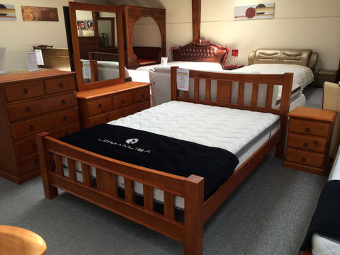 4PCS Queen Size Bedroom Suite Warm Honey Pine Wood (Trevor)