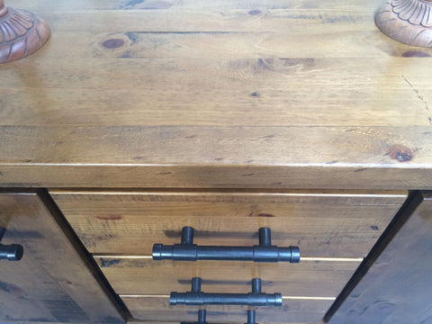 Wooden Buffet Solid Pine Wood Rough Sawn and Rustic (Woodlock)