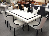 7pcs Dining Suite Black & White Marble Dining Table with 6 x Chairs