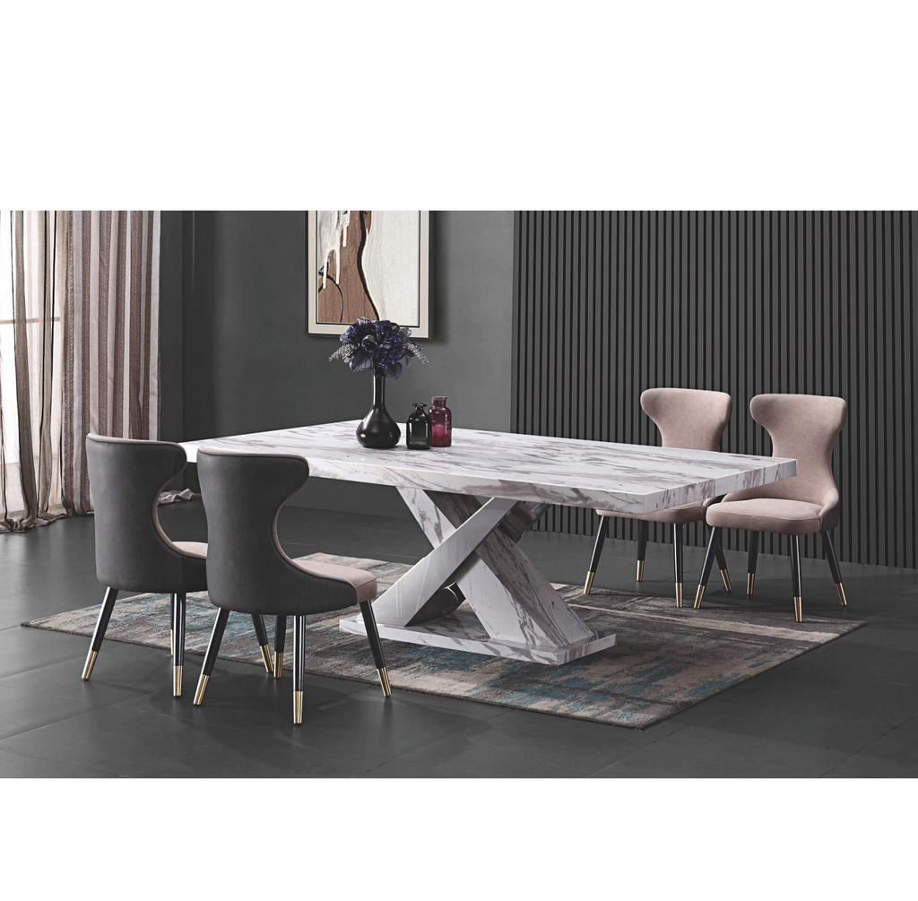 White Marble Dining Table White with Grey Patterns (T030#)