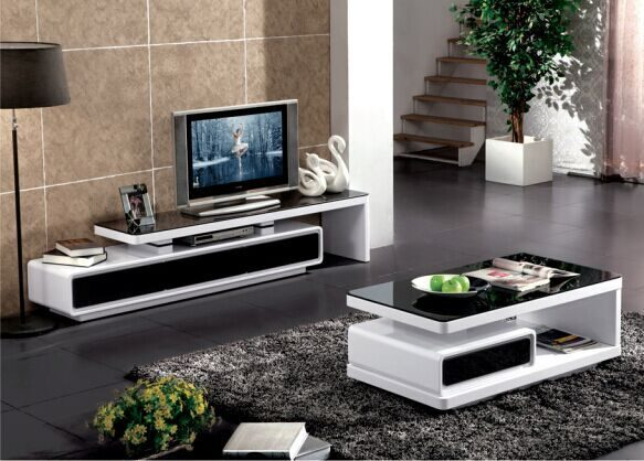 TV Entertainment Unit Extendable Glossy Black & White with 3 Drawer