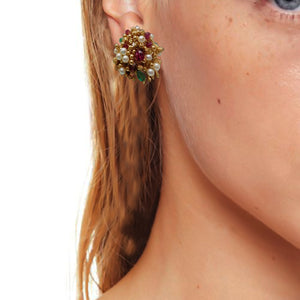 Classic Multi stone Studded Gold Earring Tops