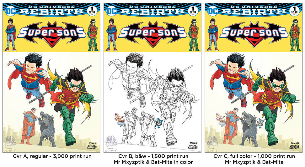 Super Sons #1 - 3x Set (Cvr's A, B, & C)