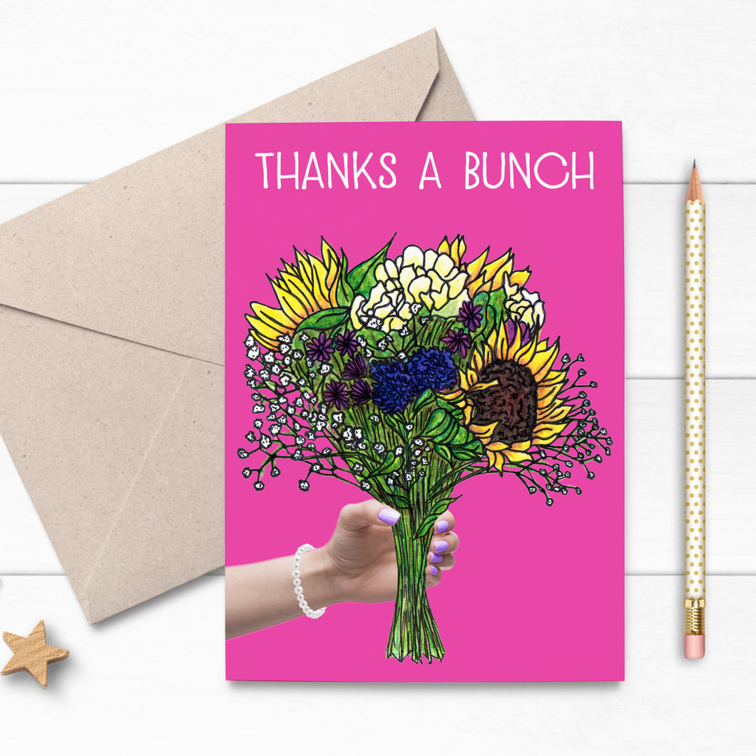 THANKS A BUNCH Floral Bouquet Illustration Card - Cherry Pie Lane