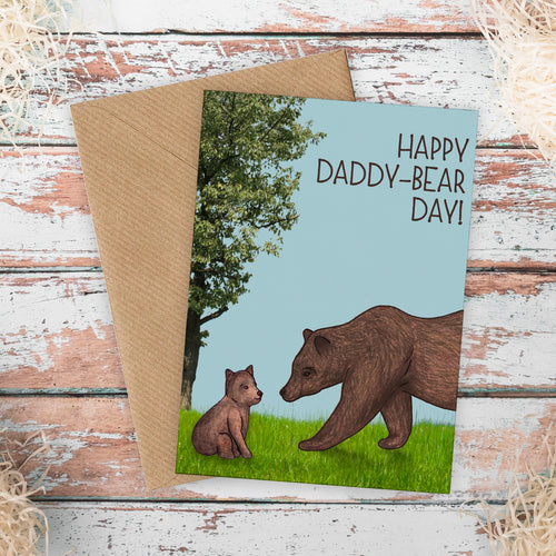 Cute Illustrated Daddy Bear Fathers Day Card - Cherry Pie Lane