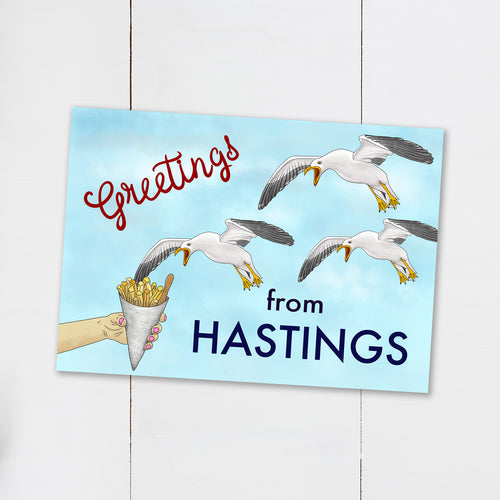 Funny Seagull Hastings Postcard - Cherry Pie Lane
