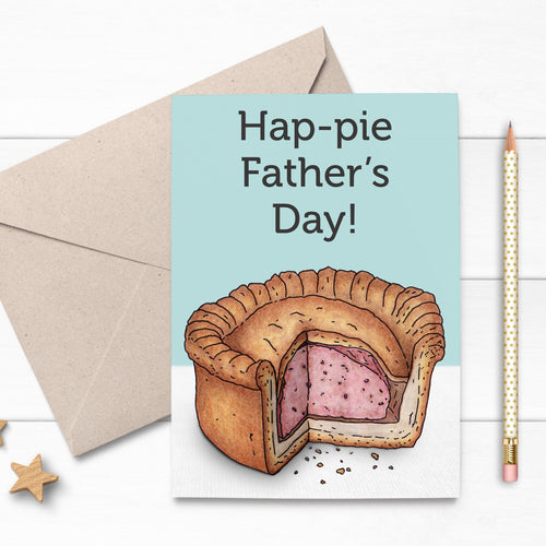 Funny Illustrated Pork Pie Fathers Day Card - Cherry Pie Lane