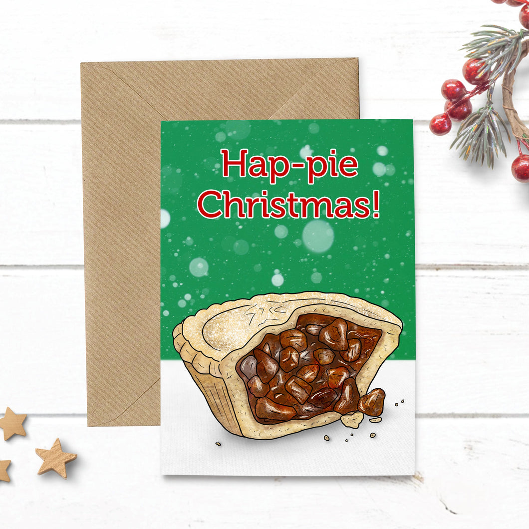 Funny Hap-pie Christmas Mince Pie Card - Cherry Pie Lane