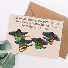 Load image into Gallery viewer, Mariachi Pea Band Funny Card - Cherry Pie Lane