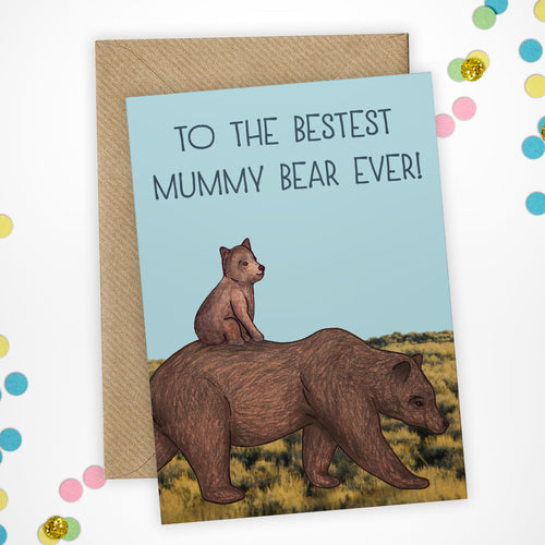 Cute Mummy Bear Mothers Day Card - Cherry Pie Lane