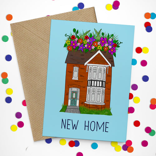 Floral House Illustration New Home Card - Cherry Pie Lane