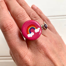 Load image into Gallery viewer, Hand-Painted Rainbow Ceramic Statement Ring - Cherry Pie Lane