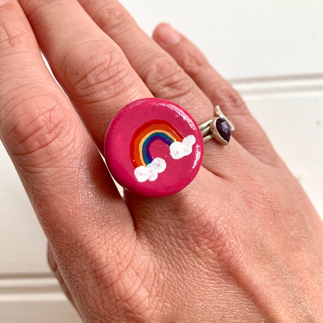 Hand-Painted Rainbow Ceramic Statement Ring - Cherry Pie Lane