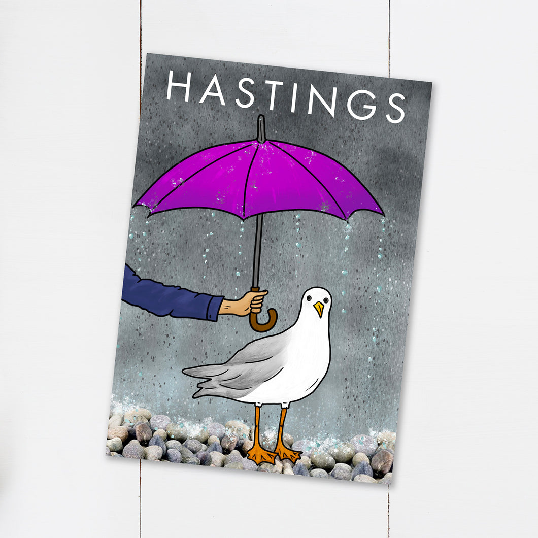 Funny Rainy Seagull Hastings Postcard - Cherry Pie Lane