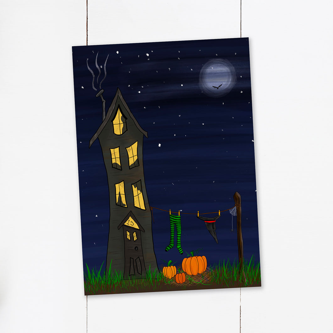 UNFRAMED Halloween Witch House Print - Cherry Pie Lane