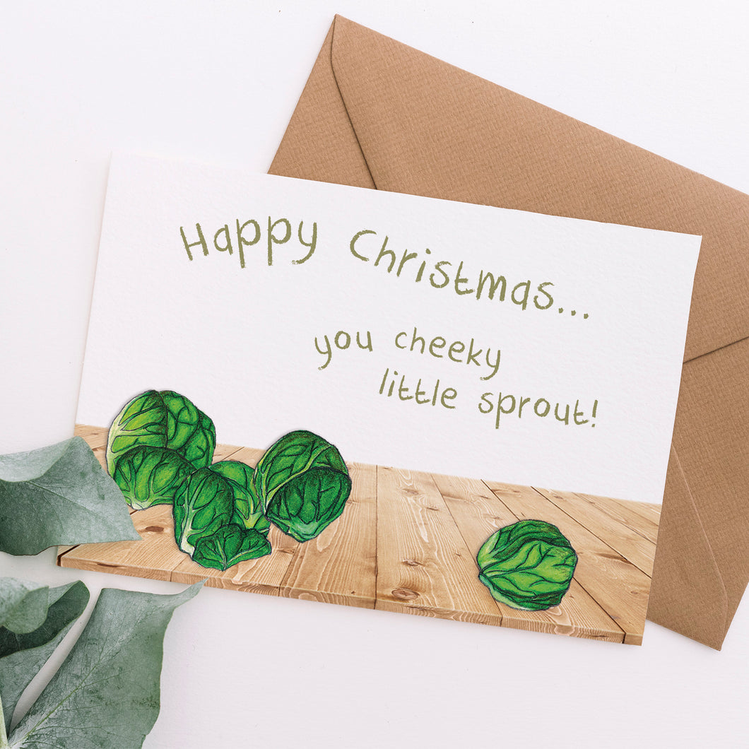 Cheeky Little Sprout Christmas Card - Cherry Pie Lane