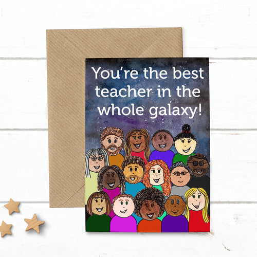 Thank You Best Teacher Galaxy Card - Cherry Pie Lane
