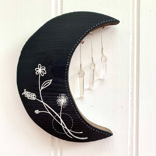 Handmade Wooden Navy Moon with Crystals - Cherry Pie Lane