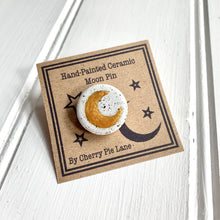 Load image into Gallery viewer, Hand Painted Crescent Moon Ceramic Pin Badge - Cherry Pie Lane