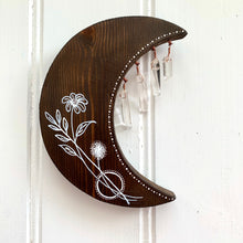 Load image into Gallery viewer, Handmade Dark Wooden Moon with Crystals - Cherry Pie Lane