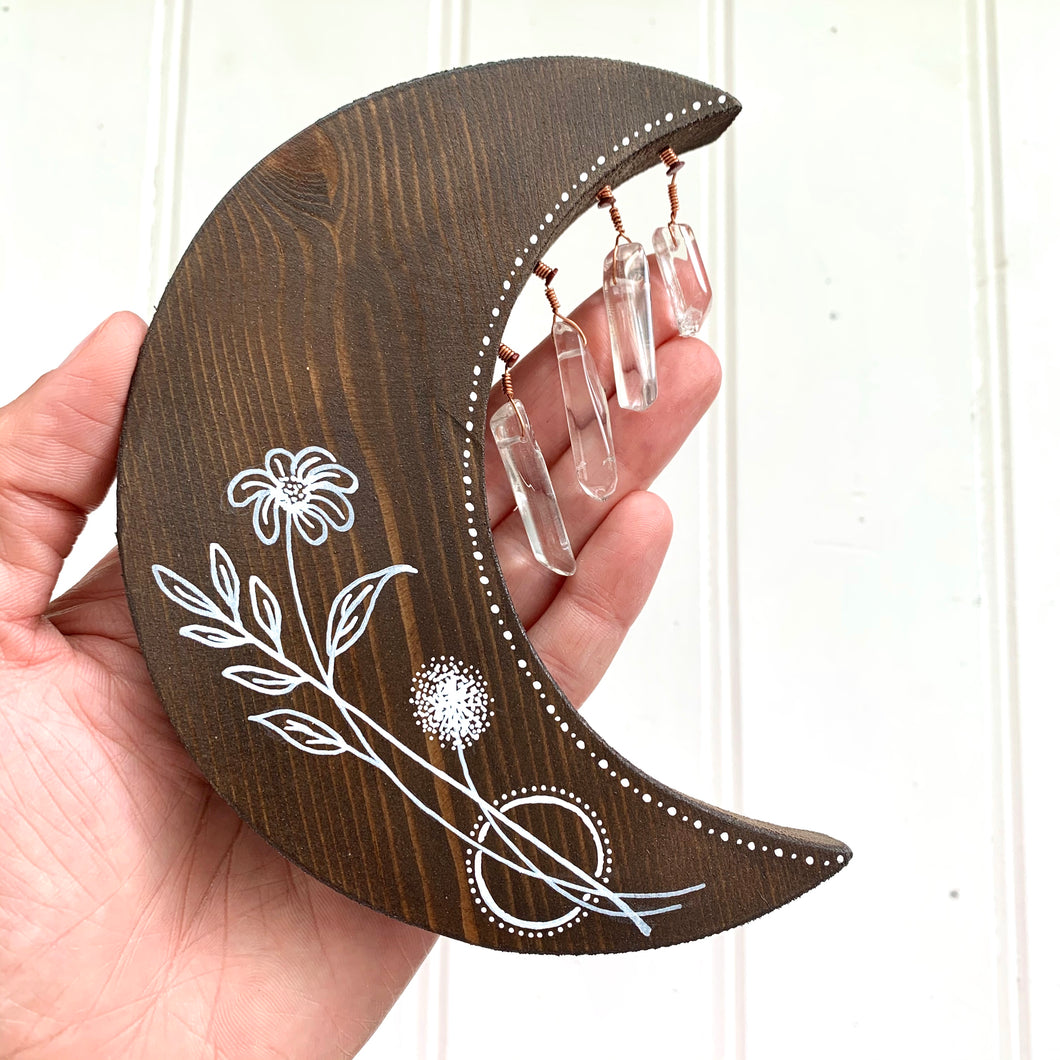 Handmade Dark Wooden Moon with Crystals - Cherry Pie Lane