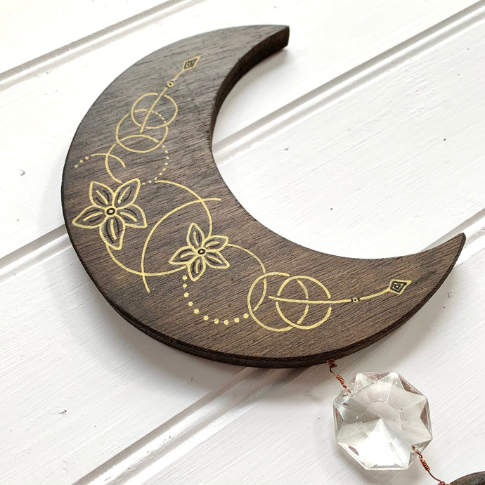Handmade Delicate Floral Wooden Moon - Cherry Pie Lane