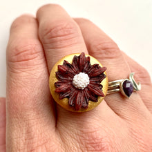 Load image into Gallery viewer, Handmade Flower Ceramic Statement Ring OR Pin - Cherry Pie Lane