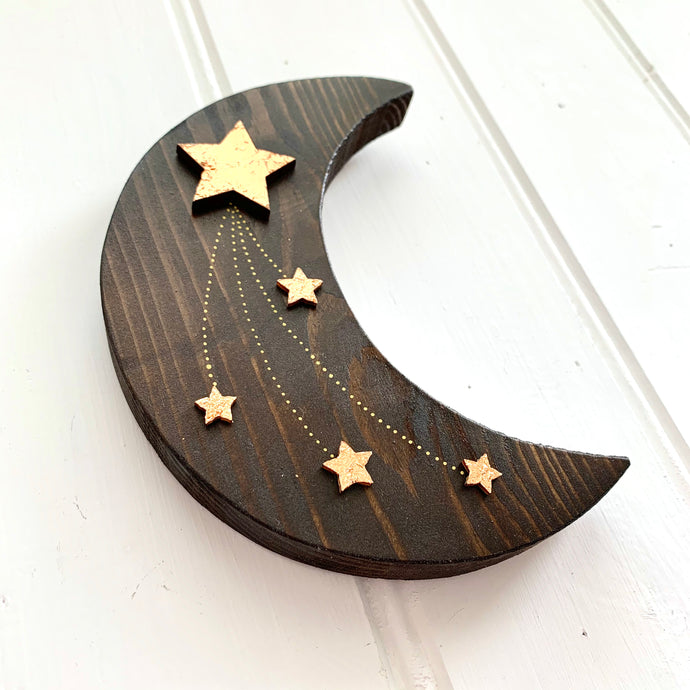 Handmade Dark Wooden Moon with Gold Stars - Cherry Pie Lane