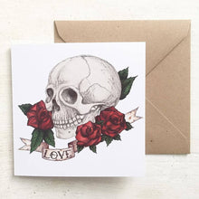 Load image into Gallery viewer, Skull And Rose Tattoo Style 'Love' Valentines Card - Cherry Pie Lane