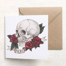 Load image into Gallery viewer, Skull And Rose Tattoo Style 'Mum' Mothers Day Card - Cherry Pie Lane