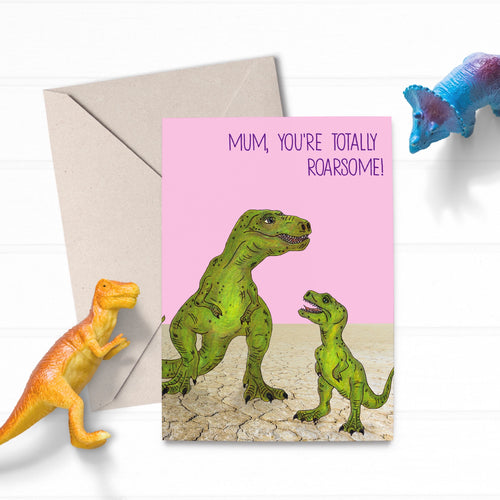 Dinosaur T-Rex Cute Funny Mothers Day Card - Cherry Pie Lane