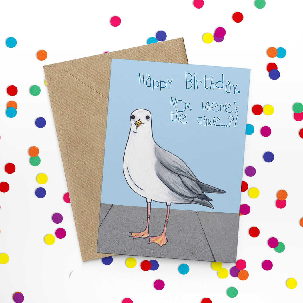 Naughty Seagull Birthday Cake Card - Cherry Pie Lane