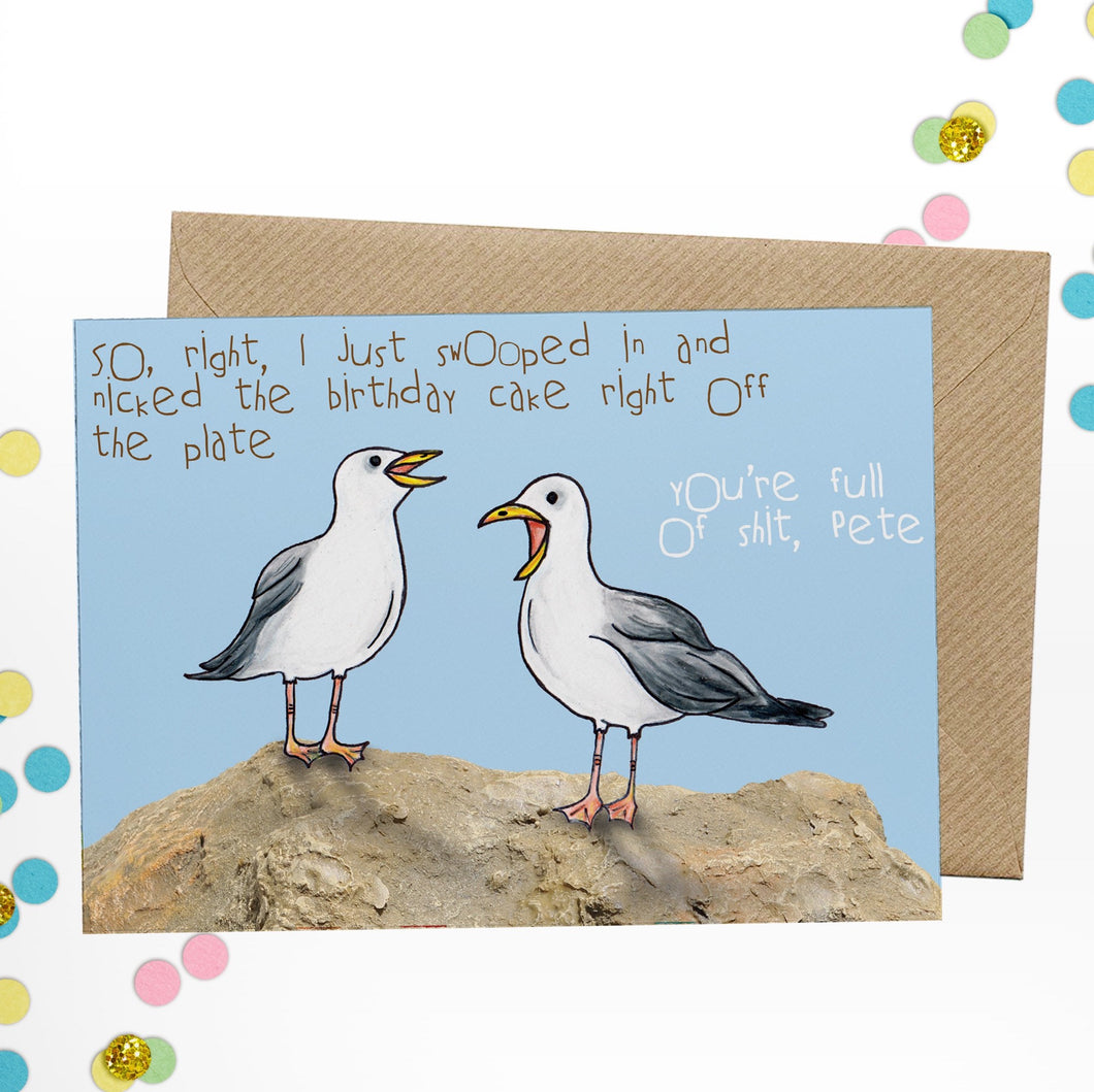 Rude Seagull Birthday Card - Cherry Pie Lane