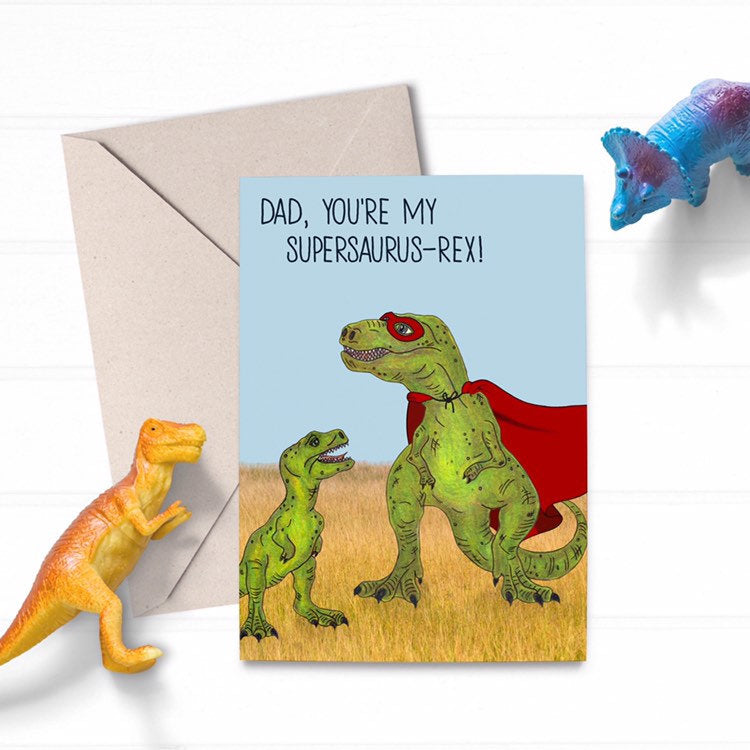 Cute Illustrated T-Rex Dinosaur Superhero Dad Fathers Day Card - Cherry Pie Lane