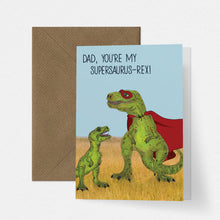 Load image into Gallery viewer, Cute Illustrated T-Rex Dinosaur Superhero Dad Fathers Day Card - Cherry Pie Lane