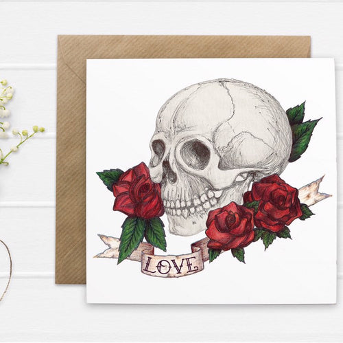 Skull And Rose Tattoo Style 'Love' Valentines Card - Cherry Pie Lane