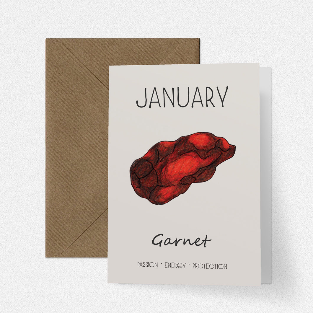 January Birthstone Garnet Illustration | Birthday | New Baby Card - Cherry Pie Lane